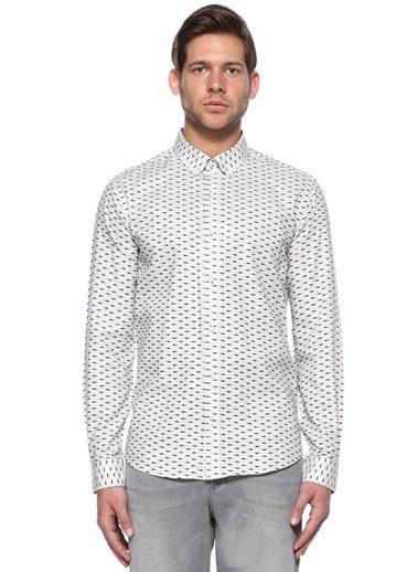 Beymen Club Desenli Uzun Kollu Gömlek Beyaz